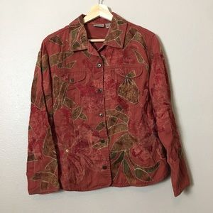 Chicos Floral Jacket/Coat Embroidered